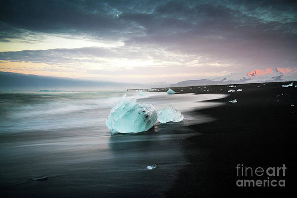 Wall Art - Photograph - Jokulsarlon Beach Sunrise Alpenglow by Mike Reid