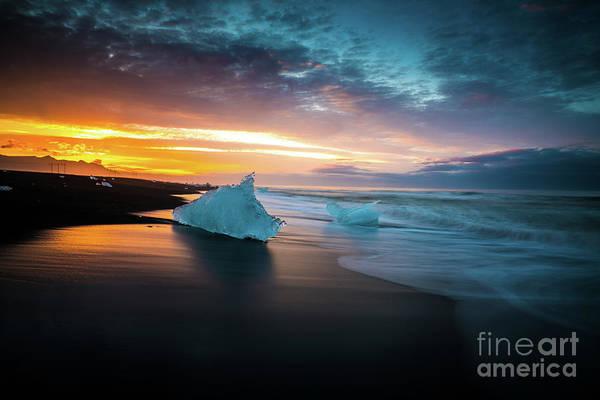 Wall Art - Photograph - Jokulsarlon Blue Ice Sunrise Serenity by Mike Reid