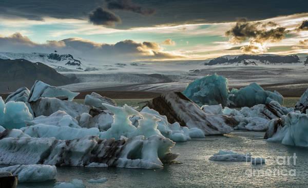 Wall Art - Photograph - Jokulsarlon Ice Lagoon Dusk Light by Mike Reid