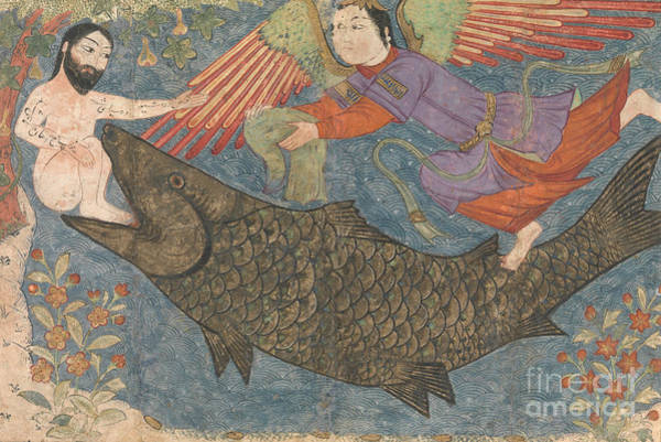 Wall Art - Drawing - Jonah And The Whale by Iranian School