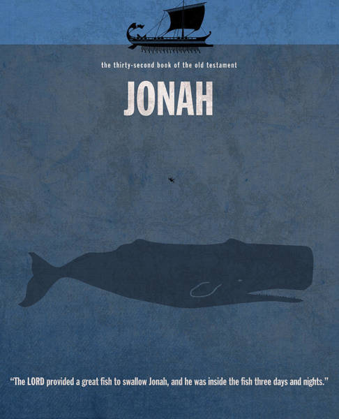 Whales Wall Art - Mixed Media - Jonah Books Of The Bible Series Old Testament Minimal Poster Art Number 32 by Design Turnpike