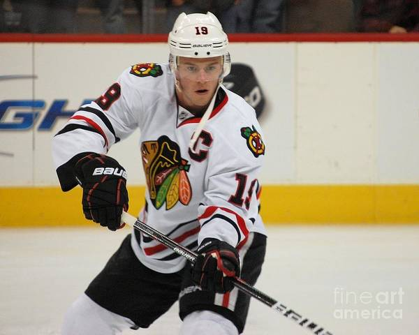Photograph - Jonathan Toews - Action Shot by Melissa Jacobsen