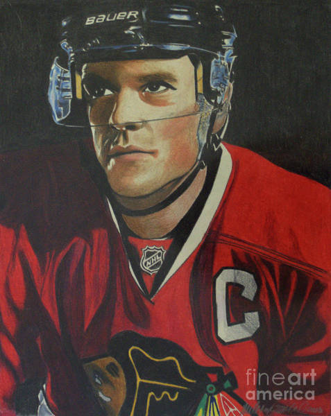 Drawing - Jonathan Toews Portrait by Melissa Jacobsen