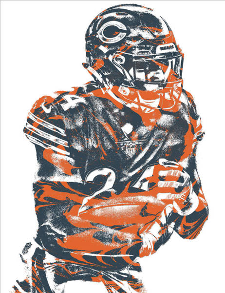 Wall Art - Mixed Media - Jordan Howard Chicago Bears Pixel Art 1 by Joe Hamilton