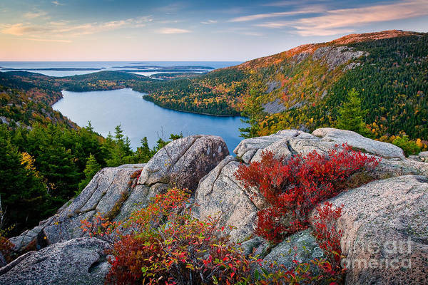 Red Green Photograph - Jordan Pond Sunrise  by Susan Cole Kelly