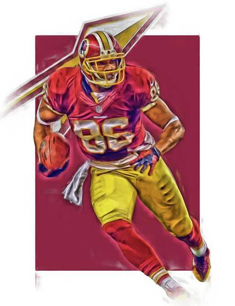 Wall Art - Mixed Media - Jordan Reed Washington Redskins Oil Art by Joe Hamilton