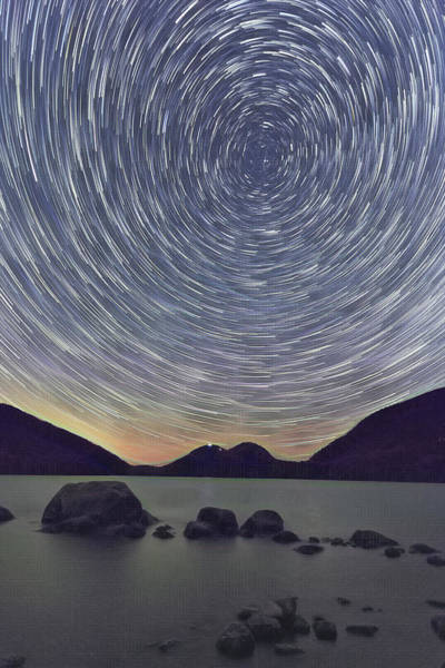 Photograph - Jordon Pond Star Trails by Natalie Rotman Cote