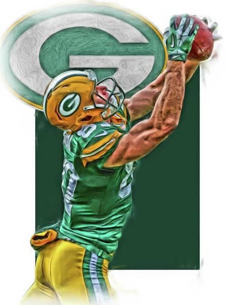Green Fields Mixed Media - Jordy Nelson Green Bay Packers Oil Art by Joe Hamilton