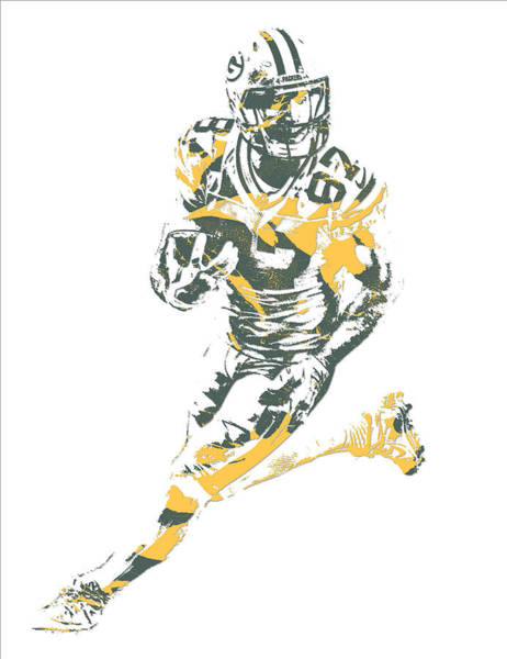 Green Bay Packers Wall Art - Mixed Media - Jordy Nelson Green Bay Packers Pixel Art 10 by Joe Hamilton