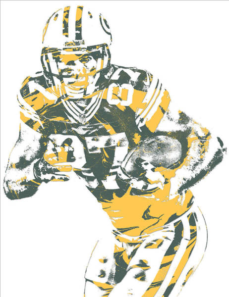 Wall Art - Mixed Media - Jordy Nelson Green Bay Packers Pixel Art 11 by Joe Hamilton