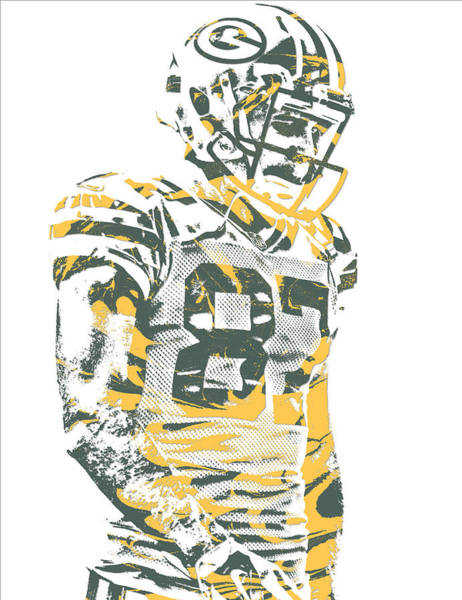 Green Bay Packers Wall Art - Mixed Media - Jordy Nelson Green Bay Packers Pixel Art 13 by Joe Hamilton