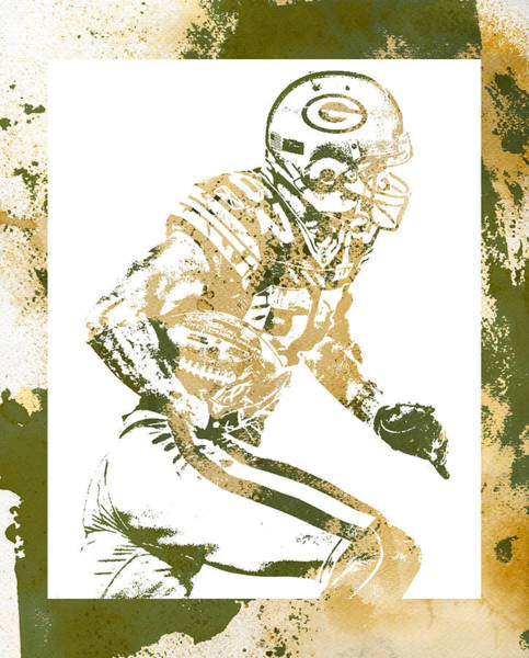 Wall Art - Mixed Media - Jordy Nelson Green Bay Packers Water Color Art 1 by Joe Hamilton