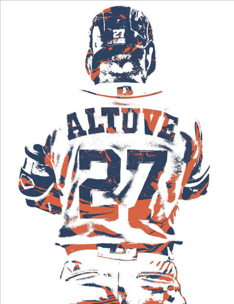Wall Art - Mixed Media - Jose Altuve Houston Astros Pixel Art 10 by Joe Hamilton
