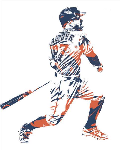 Wall Art - Mixed Media - Jose Altuve Houston Astros Pixel Art 22 by Joe Hamilton