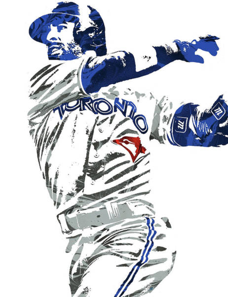 Wall Art - Mixed Media - Jose Bautista Toronto Blue Jays Pixel Art 2 by Joe Hamilton