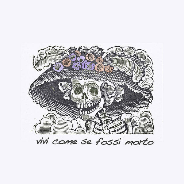 Drawing - Jose Guadalupe Posada Live Life Purple by Tony Rubino