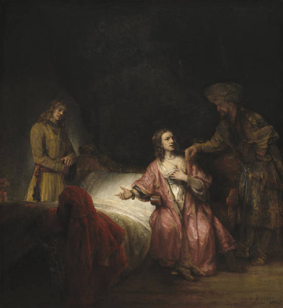 Wall Art - Painting - Joseph Accused By Potiphar's Wife by Workshop of Rembrandt
