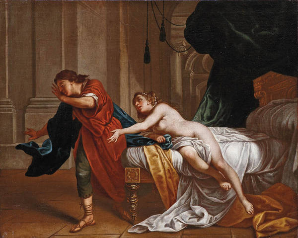 Wall Art - Painting - Joseph And Potiphar's Wife by Attributed to Lazzaro Baldi