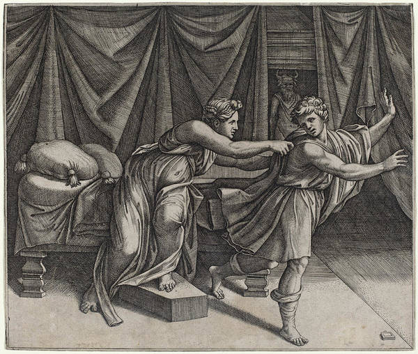 Drawing - Joseph And Potiphar's Wife by Marcantonio Raimondi