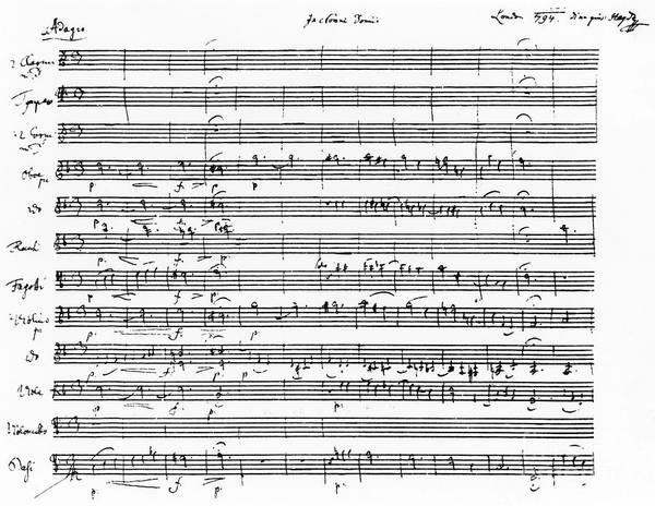 Wall Art - Drawing - Joseph Haydn Score Of London Symphony In D by Joseph Haydn