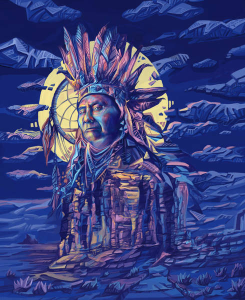 Native Painting - Joseph Nez Perce Decorative Portrait 2 by Bekim M