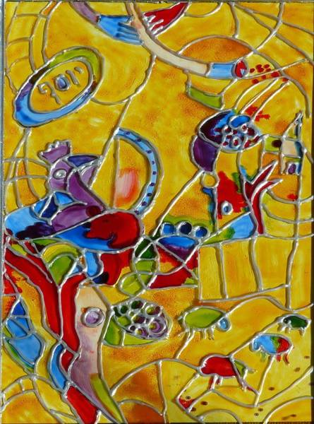 Vitrage Wall Art - Painting - Joseph-on The Chagall Way.... by Sandrine Kespi