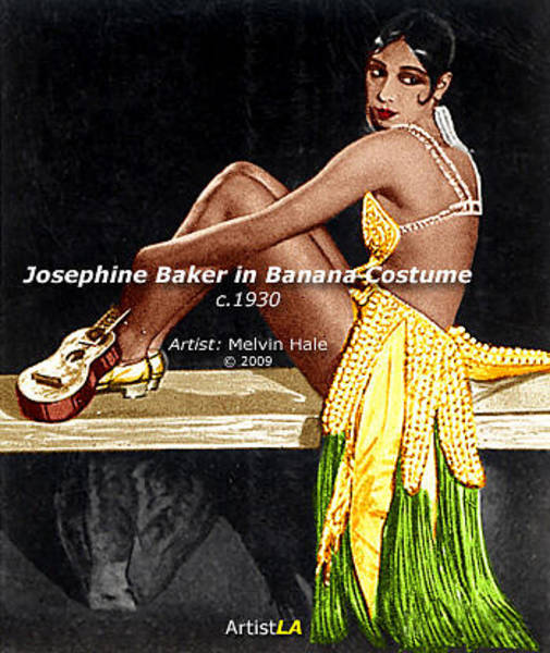 Wall Art - Painting - Josephine Baker In Banana Costume C1930 by Melvin Hale PhD - ArtistLA