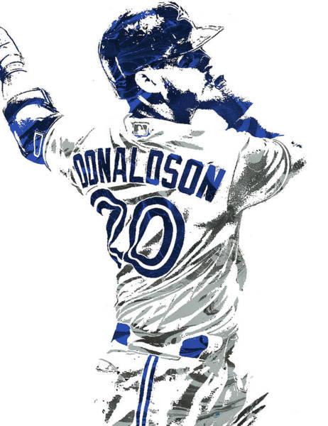 Wall Art - Mixed Media - Josh Donaldson Toronto Blue Jays Pixel Art by Joe Hamilton