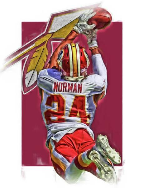 Super Bowl Mixed Media - Josh Norman Washington Redskins Oil Art by Joe Hamilton