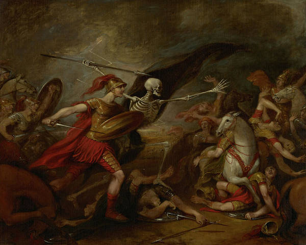 Attending Wall Art - Painting - Joshua At The Battle Of Ai - Attended By Death by John Trumbull