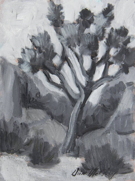 Wall Art - Painting - Joshua Tree Black And White Study by Diane McClary