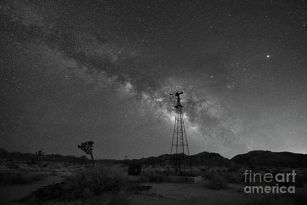 Thru Photograph - Joshua Tree Windmill Milky Way Bw by Michael Ver Sprill