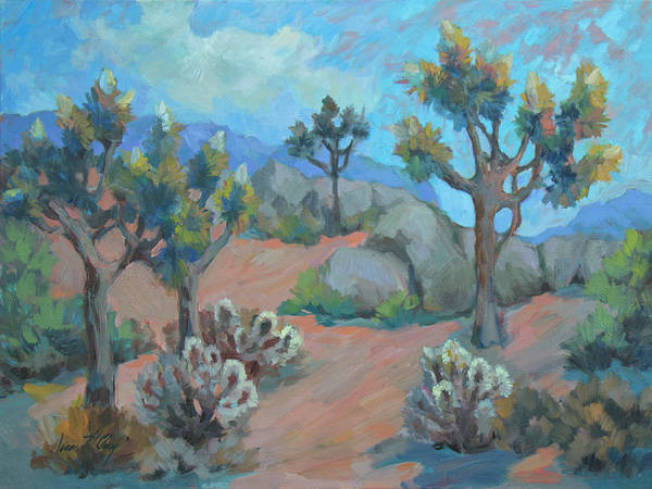 Wall Art - Painting - Joshua Trees And Cholla Cactus by Diane McClary