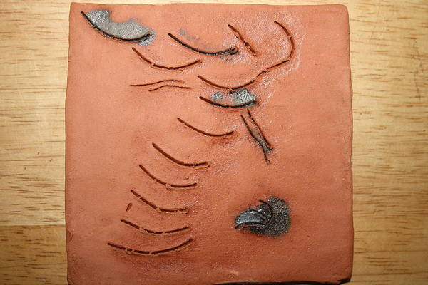 Ceramic Art - Journeys - Fleeing 14 - Tile by Gloria Ssali