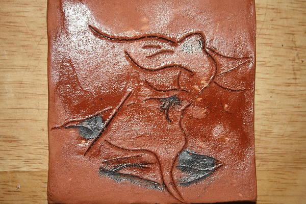 Ceramic Art - Journeys - Fleeing 22 - Tile by Gloria Ssali