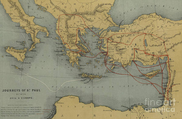 Wall Art - Drawing - Journeys Of St Paul Between Asia And Europe by English School