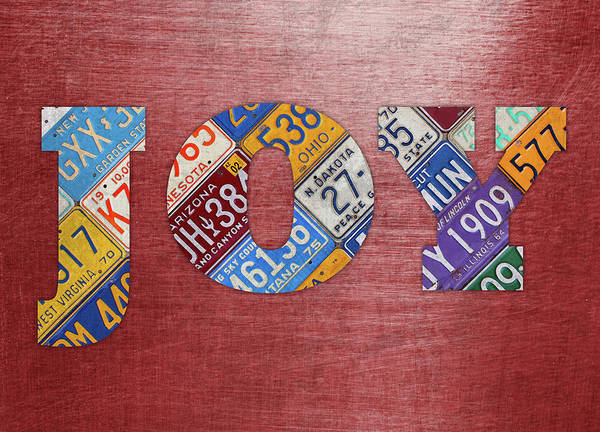 Letter Mixed Media - Joy Words License Plate Art On Metal by Design Turnpike