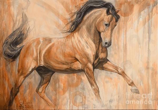 Running Horses Painting - Joyful Bay by Silvana Gabudean Dobre