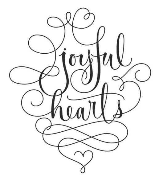 Wedding Photograph - Joyful Hearts Lettering With Scrollwork by Gillham Studios