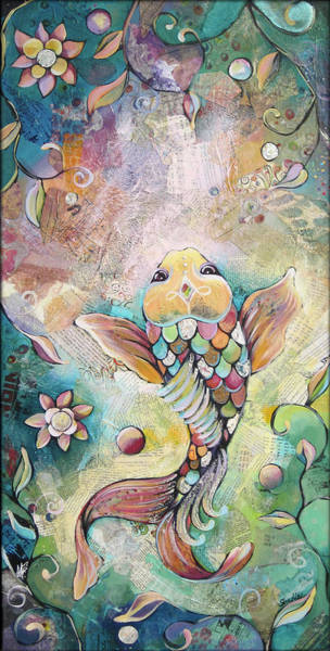 Wall Art - Painting - Joyful Koi II by Shadia Derbyshire