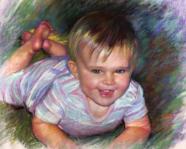 Pastel Portrait Wall Art - Pastel - Joyful Life by Ylli Haruni