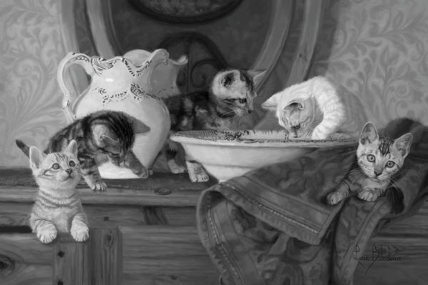 Kitten Wall Art - Painting - Joyful Morning - Black And White by Lucie Bilodeau