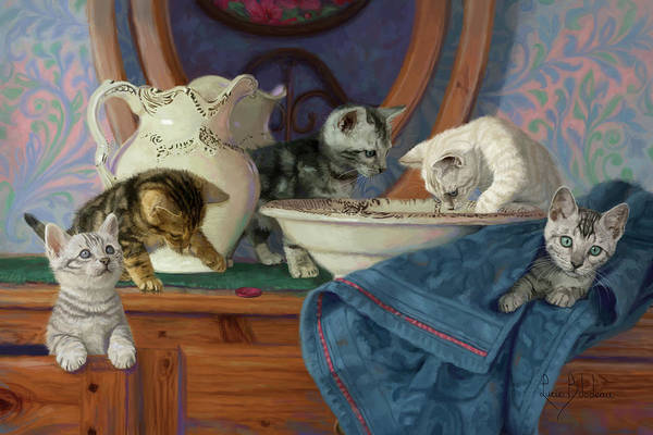 Domestic Cat Wall Art - Painting - Joyful Morning by Lucie Bilodeau