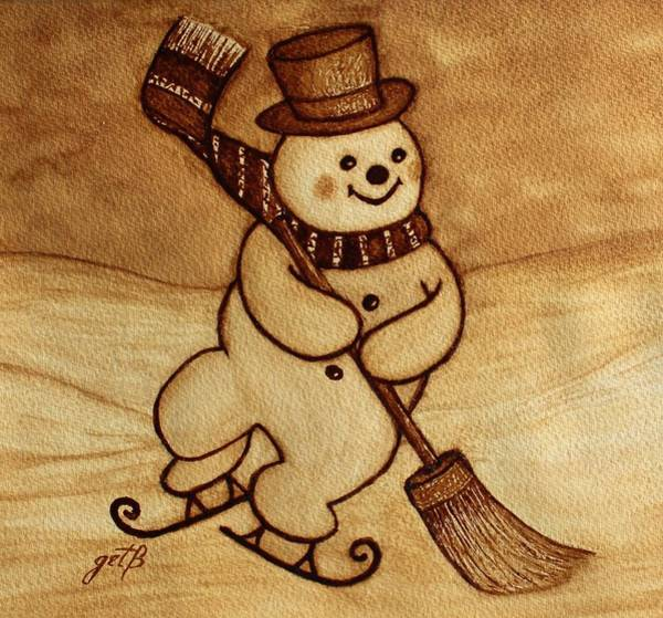 Joyful Snowman  Coffee Paintings Art Print