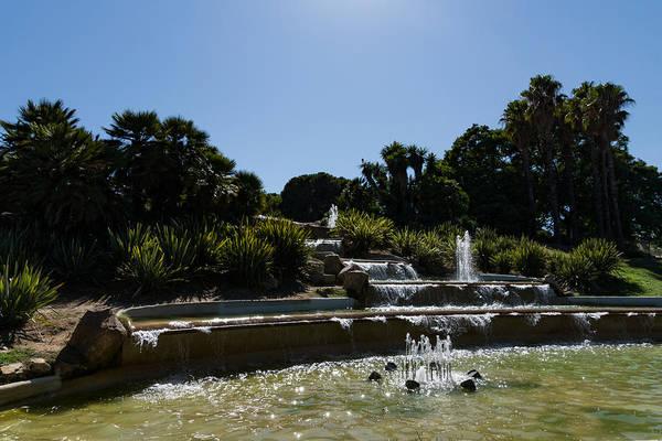 Photograph - Joyful Sunny Splashes - Jardins Del Mirador Fountains In Montjuic Park Barcelona Spain by Georgia Mizuleva