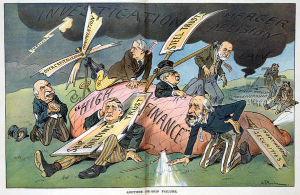 Monopoly Photograph - J.p. Morgan. Political Cartoon by Everett