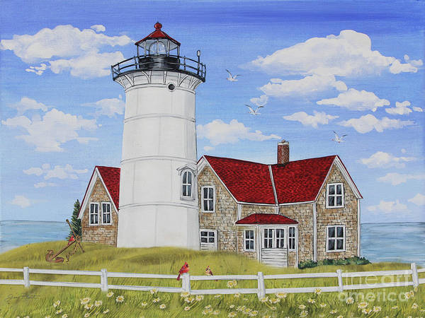 Wall Art - Painting - Summer Lighthouse-jp3902 by Jean Plout