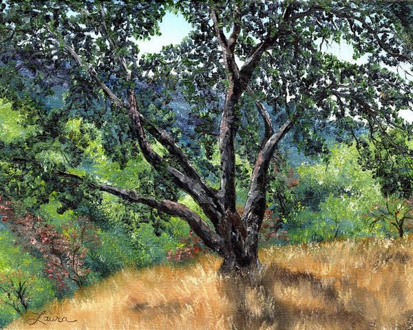 California Hills Painting - Juan Bautista De Anza Trail Oak by Laura Iverson