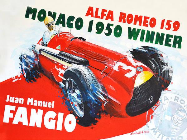 Alfa Romeo Painting - Juan Manuel Fangio Alfa Romeo 159 Monaco Winner by Daniel Senkerik