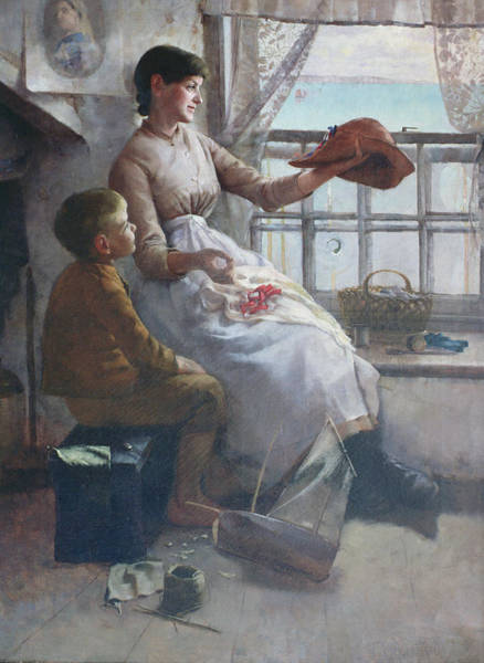Mending Painting - Jubilee Hat by Frank Wright Bourdillon